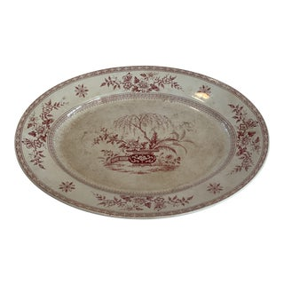 Late 19th Century Antique T. Furnival & Son's Ceylon Red Platter For Sale