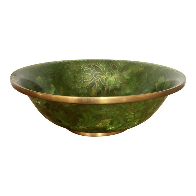 Green Cloisonne Catchall Bowl For Sale