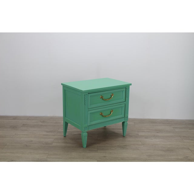 Mid Century Neoclassical Style Nightstand, Green Nightstand For Sale - Image 4 of 11