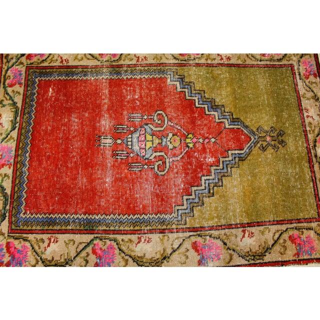 """1950s Vintage Turkish Oushak Handmade Antique Prayer Rug - 37"""" x 52"""" For Sale - Image 5 of 6"""