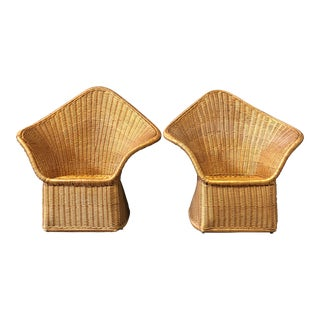 Unique Pair of Wing Back Wicker Arm Chairs For Sale