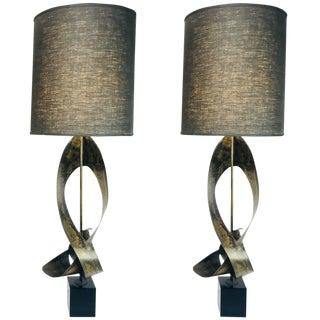 Pair of Bronze Harry Balmer Sculptural Laurel Lamps For Sale