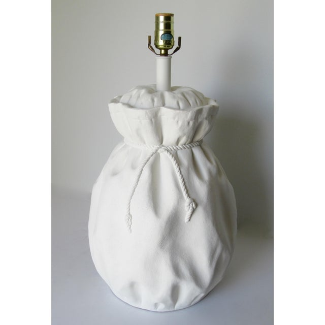 1960s John Dickinson-Style Draped Plaster Rope Cinched Lamp For Sale - Image 5 of 13