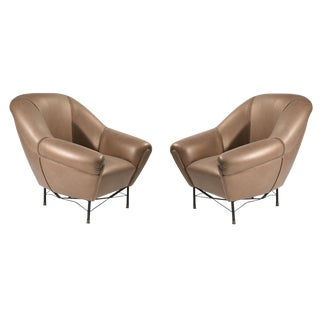Modernist Leather Armchairs - a Pair For Sale