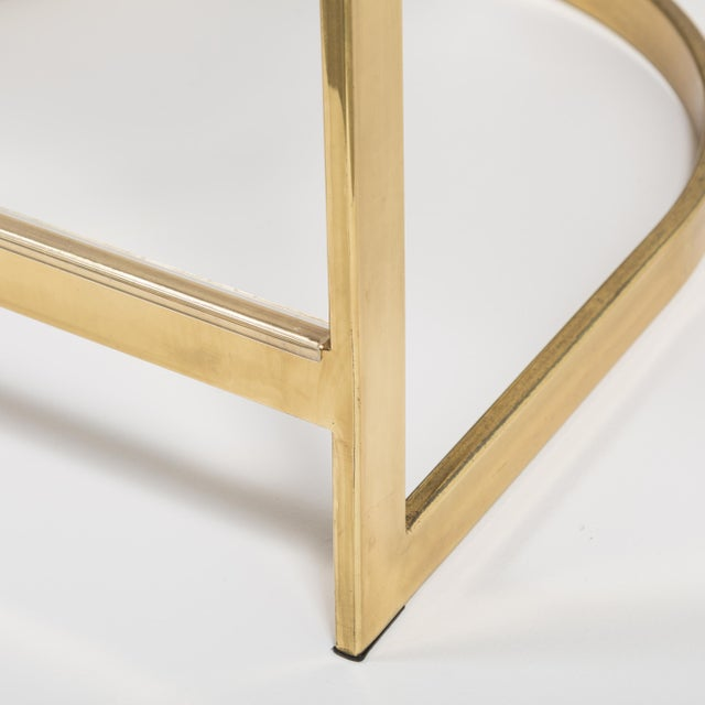 A Counter Height Brass Framed Upholstered Chair 1980s For Sale - Image 6 of 8