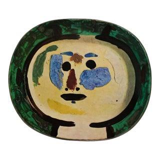 1955 Pablo Picasso Living Face Ceramic Plate, Original Period Swiss Lithograph For Sale