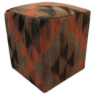 Boho Chic Ellingto Orange/Black Handmade Kilim Upholstered Ottoman For Sale