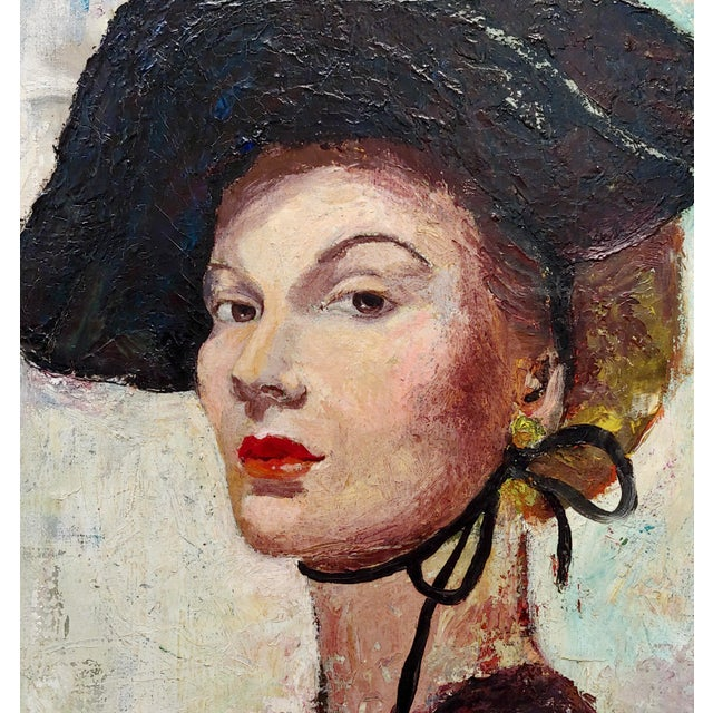 C. Dexter Portrait of a Stylish Woman With Black Hat Oil Painting For Sale - Image 4 of 9