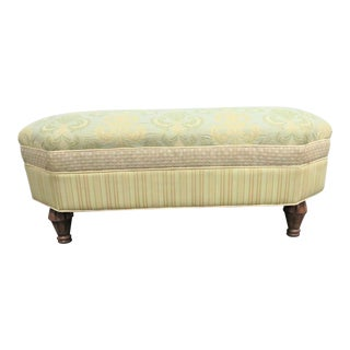 Traditional Green Oversized Ottoman For Sale