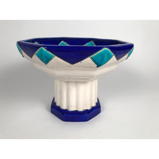 Art Deco Art Deco Period Ceramic Compote by Boch Freres For Sale - Image 3 of 9