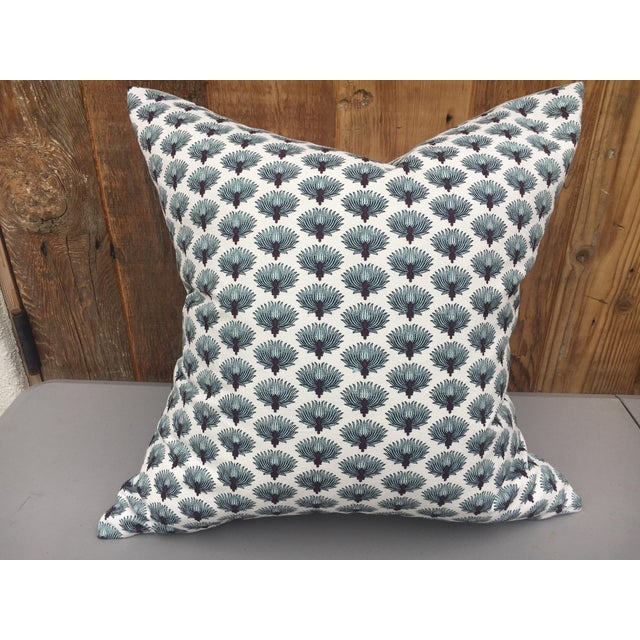 Absolutely fabulous custom pillow made with a wonderful hand blocked Indian fabric. New neutral linen backing with zipper...