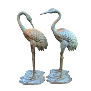 Vintage Life Size Cast Metal Outdoor Garden Crane Bird Statue - a Pair For Sale