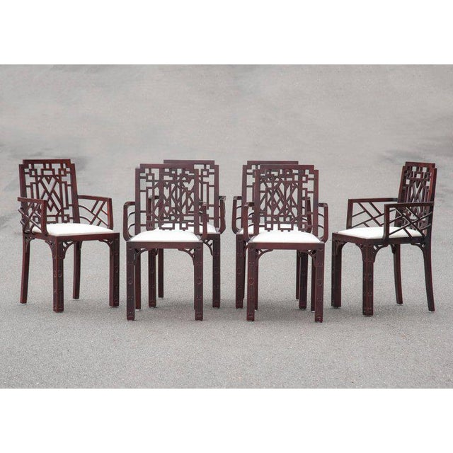 Gorgeous Chinese Chippendale Style Fretwork Dining Chairs - Set of 6 - Image 2 of 10