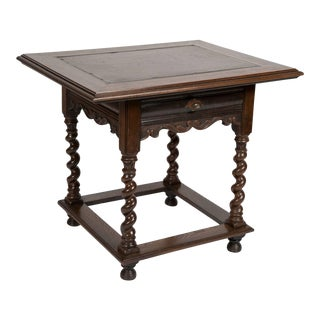 Dutch Baroque Style Oak Table with Inlaid Slate Top For Sale