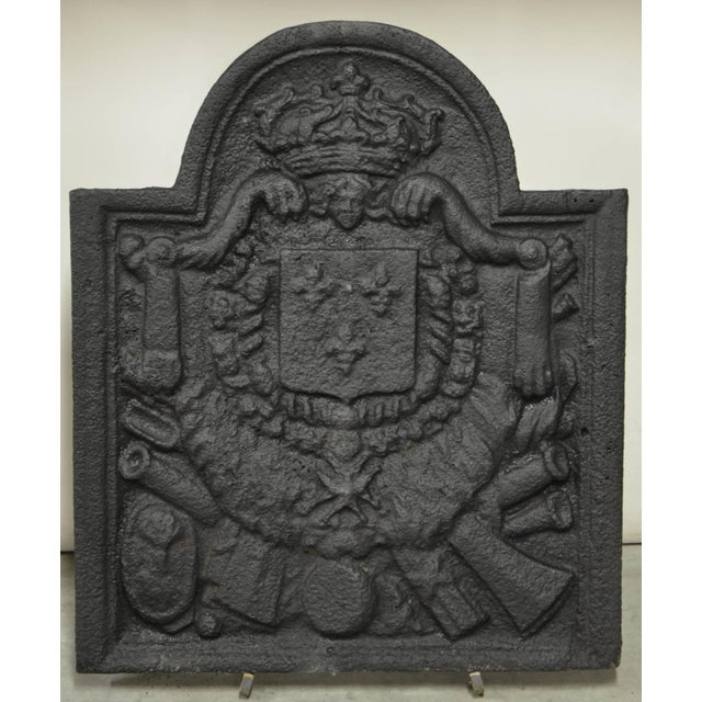 French Antique 18th Century Cast Iron French Fireback For Sale - Image 3 of 3