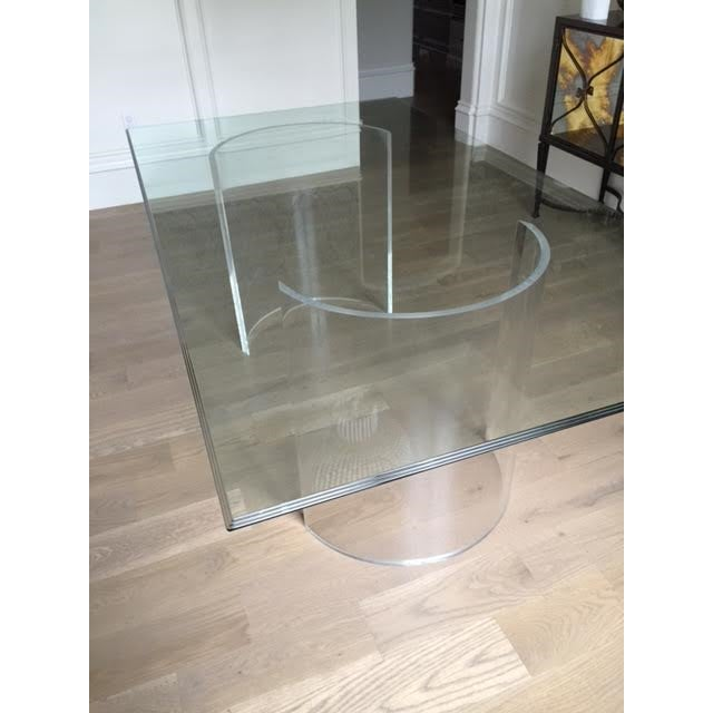 Vintage Lucite Base Dining Table For Sale - Image 7 of 10
