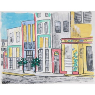 Miami Beach Cityscape Art Deco Painting by Cleo Plowden For Sale