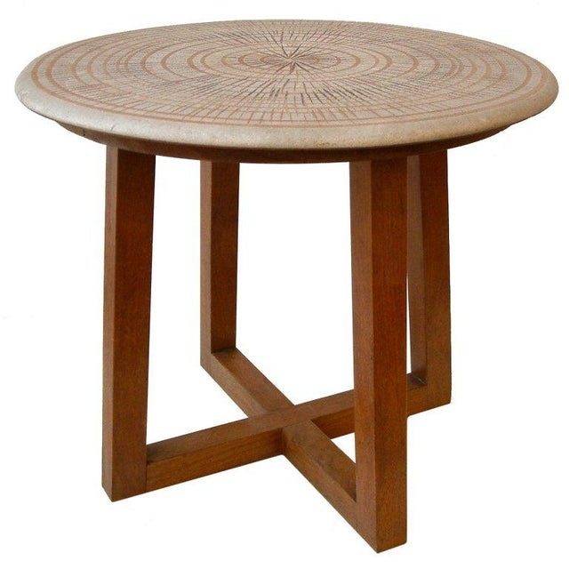 Brown Design Technics Ceramic and Walnut Table For Sale - Image 8 of 8