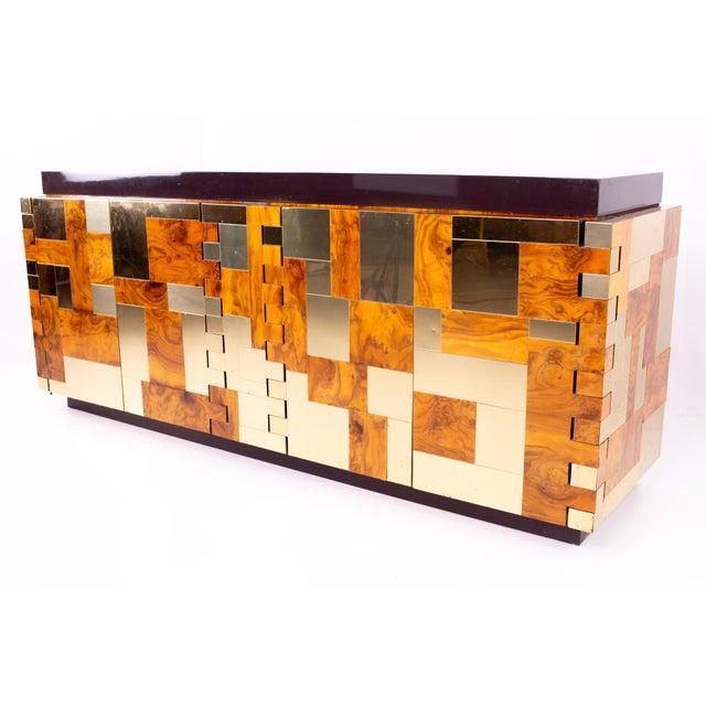 Paul Evans Brass and Burlwood Brutalist Sideboard Buffet Credenza 76.5 wide x 21.25 deep x 32.25 high Great vintage...
