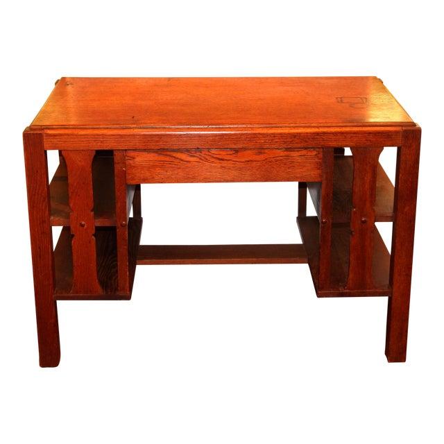 1920s Antique Stickley Desk Table Bookshelves Mission Oak Writing Desk For Sale