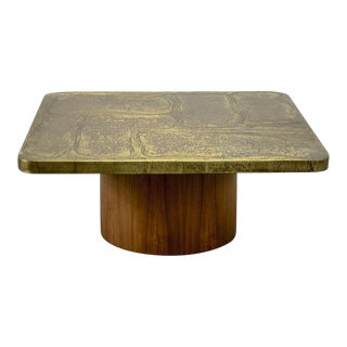 Mid-Century Brutalist Handmade Etched Brass Square Lounge Coffee Table on Teak Pedestal, 1970s For Sale