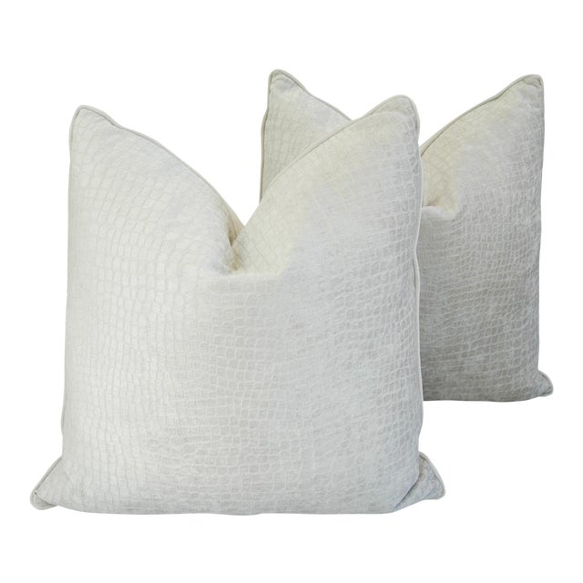 "Boho Chic Bone White Crocodile Velvet Feather/Down Pillows 24"" Square - Pair For Sale - Image 12 of 12"