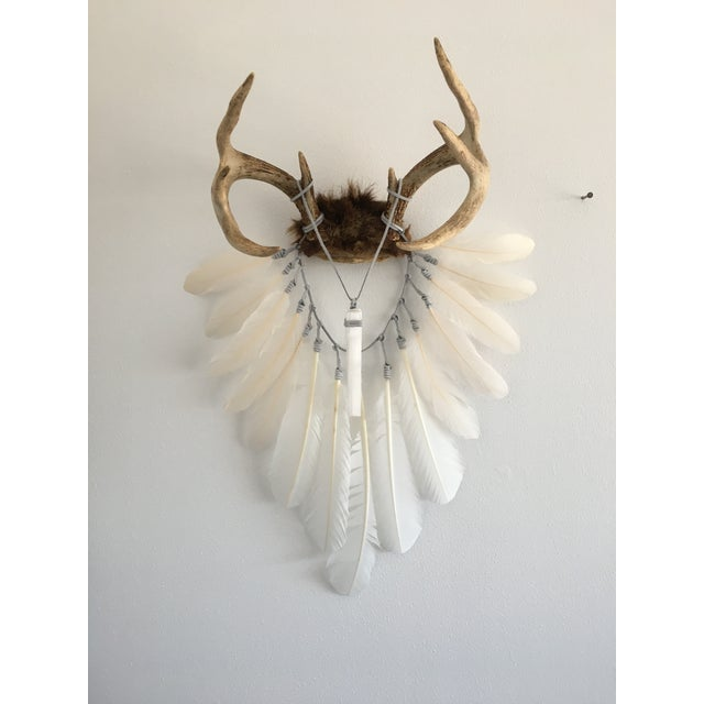 Cream & White Feathers With Selenite Crystal on Deer Antlers - Image 2 of 4