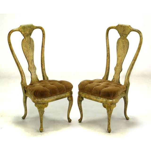 Four Phyllis Morris Oil-Drop Lacquered Queen Anne Chairs - Image 4 of 9