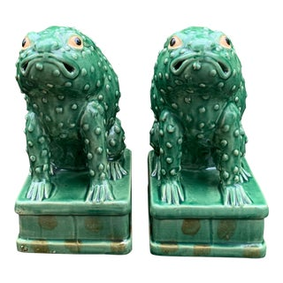 Green Ceramic Frogs - a Pair For Sale