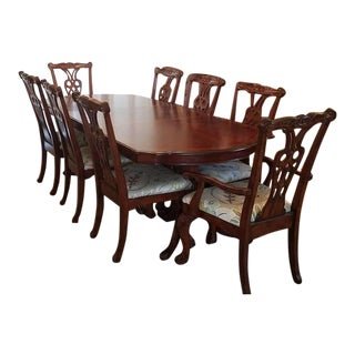 Traditional Solid Wood Dining Room Set - 9 Pieces For Sale