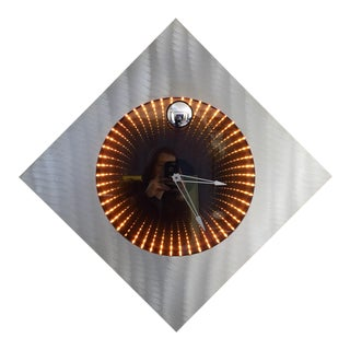 1980s Aluminum Frame Infinity Mirror Wall Clock