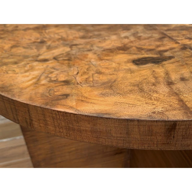 Wood Italian Round Art Deco Burl Walnut Coffee Side Table With Ebonized Legs For Sale - Image 7 of 9