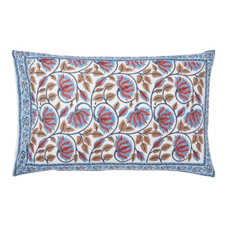 Suman-Nargis Coral, Blue & Camel Reversible Pillow Case For Sale
