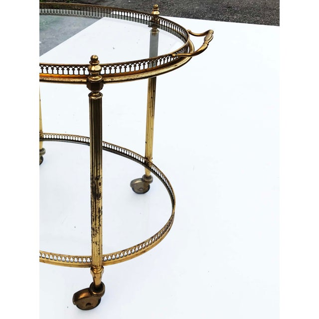 Neoclassical 1960s Neoclassical Maison Bagues Oval Bar Cart For Sale - Image 3 of 4