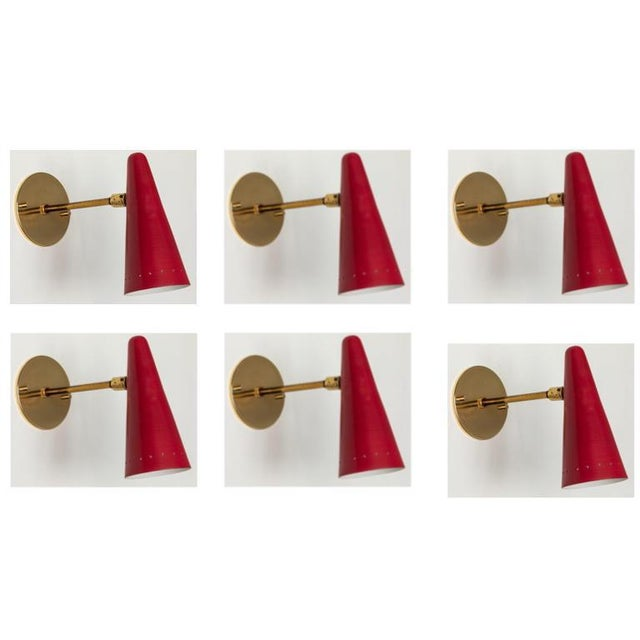 1960s Stilux Articulating Red Cone Sconces For Sale - Image 13 of 13