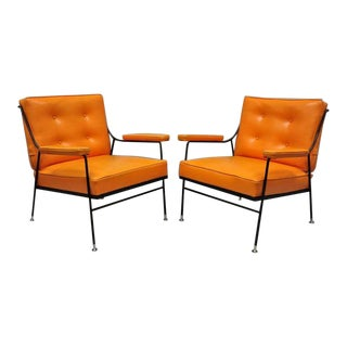 1950s Vintage Wrought Iron & Orange Vinyl Lounge Chairs- A Pair For Sale