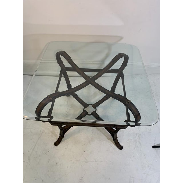 Transparent Hermes Equestrian Iron Strap Side Table For Sale - Image 8 of 13