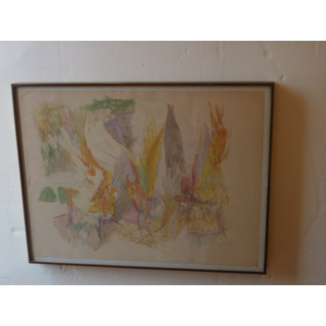 Signed indistinctly in lower right and dated in Roman Numerals, 1957, abstract watercolor in metal frame with welded...