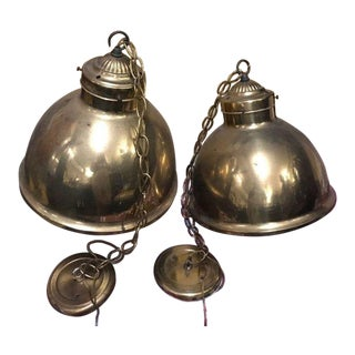 Architectural Salvage Hanging Industrial Barn Enamel Pendant Lighting – a Pair For Sale