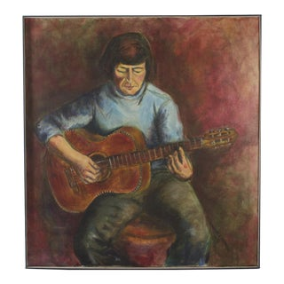 Large Portrait of a Guitarist Oil on Canvas