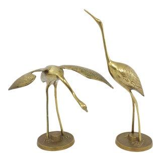 Midcentury Brass Cranes, Pr For Sale