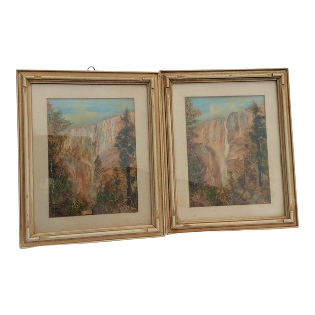 Late Victorian Moss Work Yosemite Pictures - A Pair For Sale