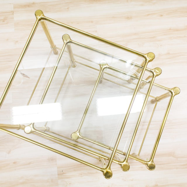 Italian Brass & Glass Nesting Tables - Set of 3 - Image 4 of 11