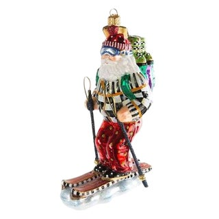 Mackenzie Childs Courtly Check Skiing Santa Glass Christmas Ornament For Sale