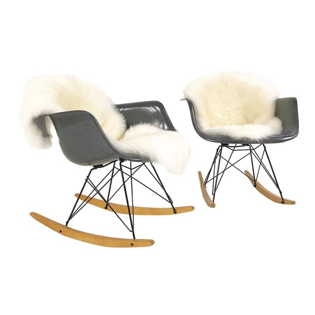 Charles & Ray Eames for Herman Miller Rar Rockers With Sheepskins - a Pair - Image 1 of 7