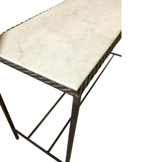Metal Rectangular White Marble Top Console Table - Image 2 of 4