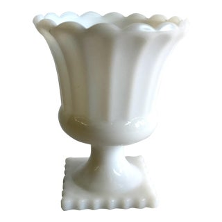 Vintage Milk Glass Urn Vase For Sale