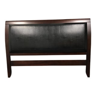Contemporary California King Size Solid Wood & Leather Bed