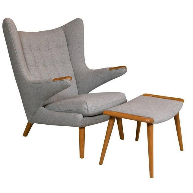 A Hans Wegner Papa Bear Chair With Stool Produced by a.p. Stolen For Sale - Image 10 of 10