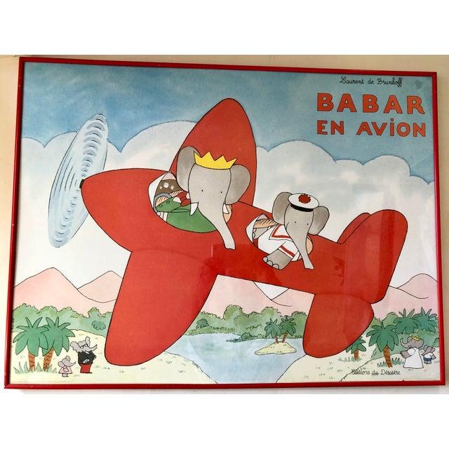 1980s French Babar en Avion Framed Print For Sale - Image 5 of 5